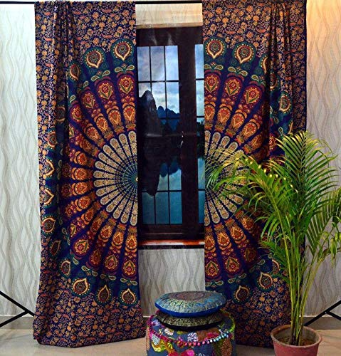 "Real Online Seller Cotton Mandala Curtain Kitchen Window Curtains & Valance Set 48""x78"" Inches Dorm Tapestry,Indian Drape Balcony Room Decor Curtain Pair Boho Set Hippie Curtain Panel - Blue"