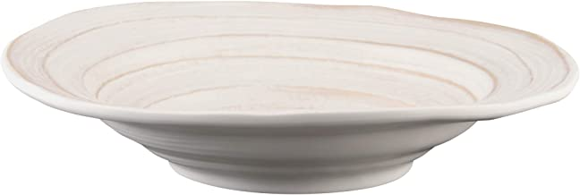 "Elite Global Solutions DB11ST-OWD Irregular Round Bowl, 11"" Dia. x 2 3/8"" h, Melamine, Off White Design (Pack of 6)"