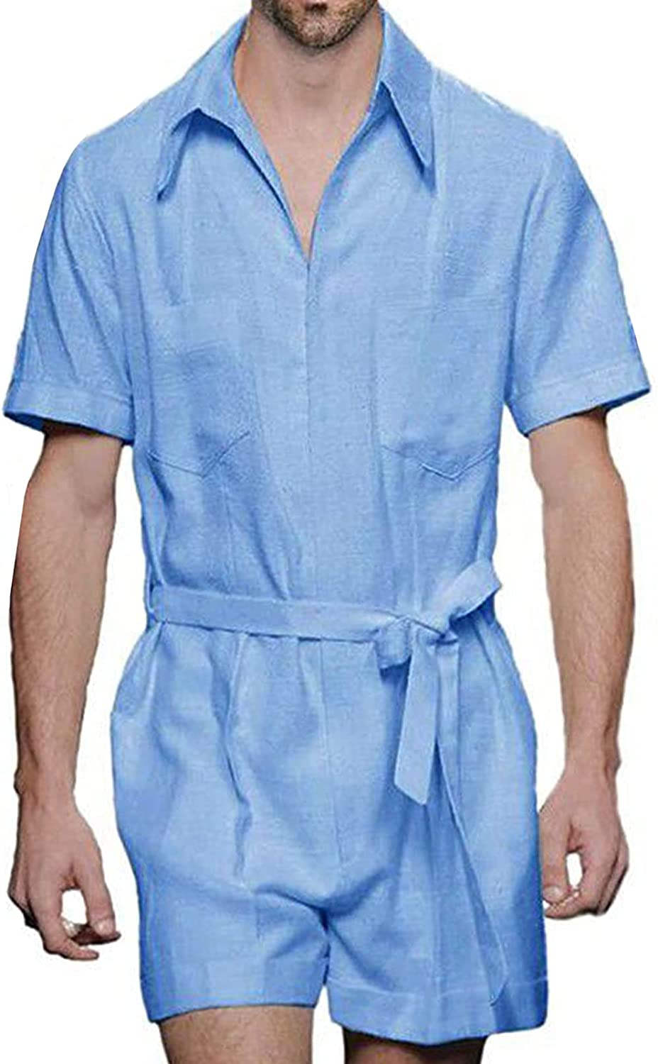 Men Romper Jumpsuit One Piece Sleeve Short Phoenix Mall Overalls Outfit discount Butto