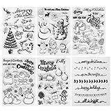 Kesote Navidad Transparente Sello de Silicona Sello de Goma en Forma de Santa Claus, Árbol de Navidad, Reno, Muñeco de Nieve, Sellos para DIY, Álbum, Scrapbooking