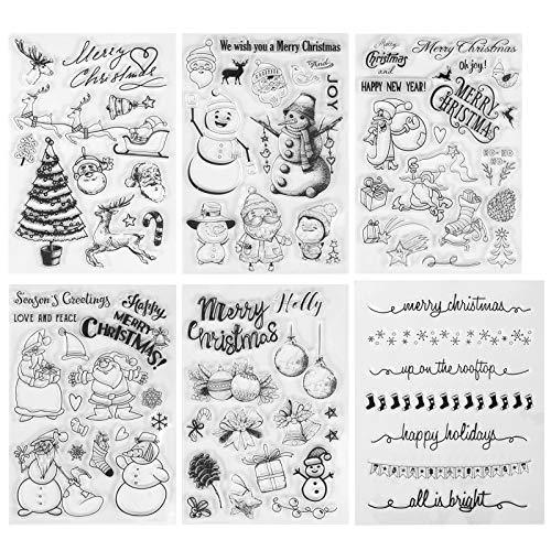 Kesote 6 Bogen Stempel Clear Weihnachten Stamp Transparent Weihnachtsstempel Silikon DIY Scrapbooking Fotoalbum