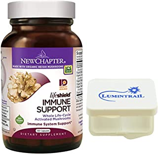 New Chapter LifeShield Immune Support Supplement with Organic Reishi Mushroom, Vegan and Non-GMO Ingredients - 120 Capsules Bundle with a Lumintrail Pill Case
