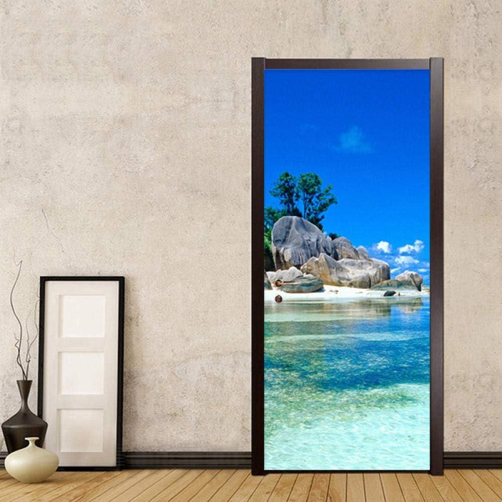 Our shop most popular SDFUI Door Rapid rise Stickers Wallpaperdoor Scen Beautiful Island