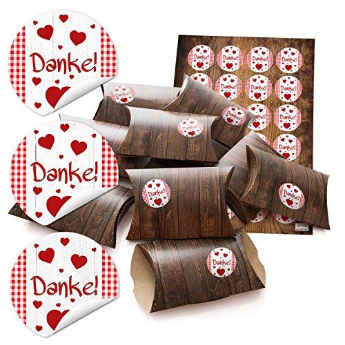 24piccolo regalo scatole regalo scatole di cartone 14,5x 10,5cm (+ 3cm alto) effetto legno marrone + Sticker grazie a quadretti Bianco Rosso Ø 4cm; per costruire aquilone e Riempire