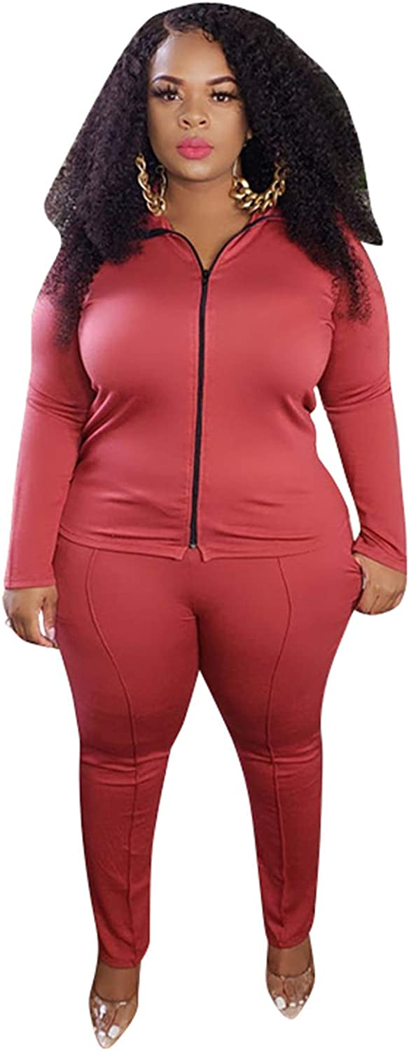 Plus Size Tracksuits for Women - 2 Piece Outfits Zip Up Top Jackets + Long Sweatpants Jogger