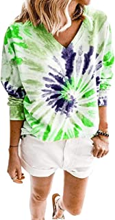 Comaba Womens V Neck Loose Tie Dyed Long Sleeve Tees Shirt Blouse