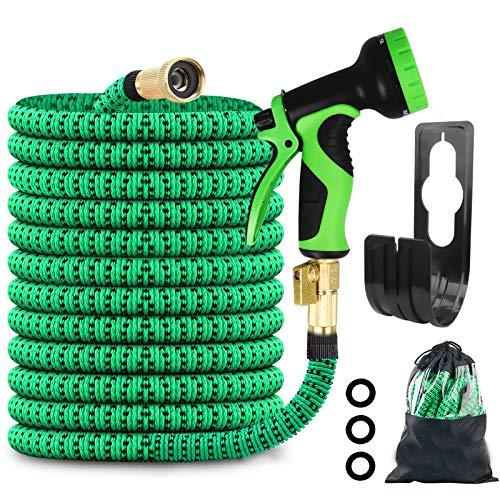 Karanice Gartenschlauch Flexibler Doppelkern Latex 3/4 Zoll EU-Standard-Vollmessingarmaturen 9 Modi Wassersprühpistole Ausziehbarer Zauberschlauch Grün