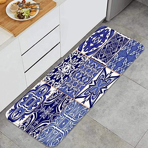 Alfombra de Cocina Antideslizante,Adornos de Azulejos marroquíes patrón de Mosaico sin Fisuras,Estera de Cocina Felpudos Decorativo Alfombra para Dormitorio Baño Pasillo 45 x 120cm