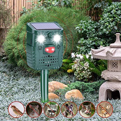 Sinicyder - Ahuyentador solar para gatos, ultrasónico, repelente al agua, ultrasónico, con animales ajustables, repetidor, 4 modos para gatos, pájaros, mapaches, perros