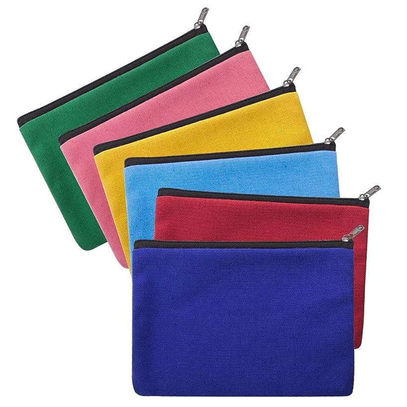 Aspire 6-Pack Assorted Cotton Canvas Zipper Makeup Bags 7