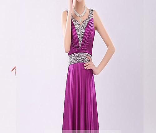 SHJJK Mariée Toast vêteHommests Robe de soirée Costumes épaules Longue Section V-Cou,Violet,XL