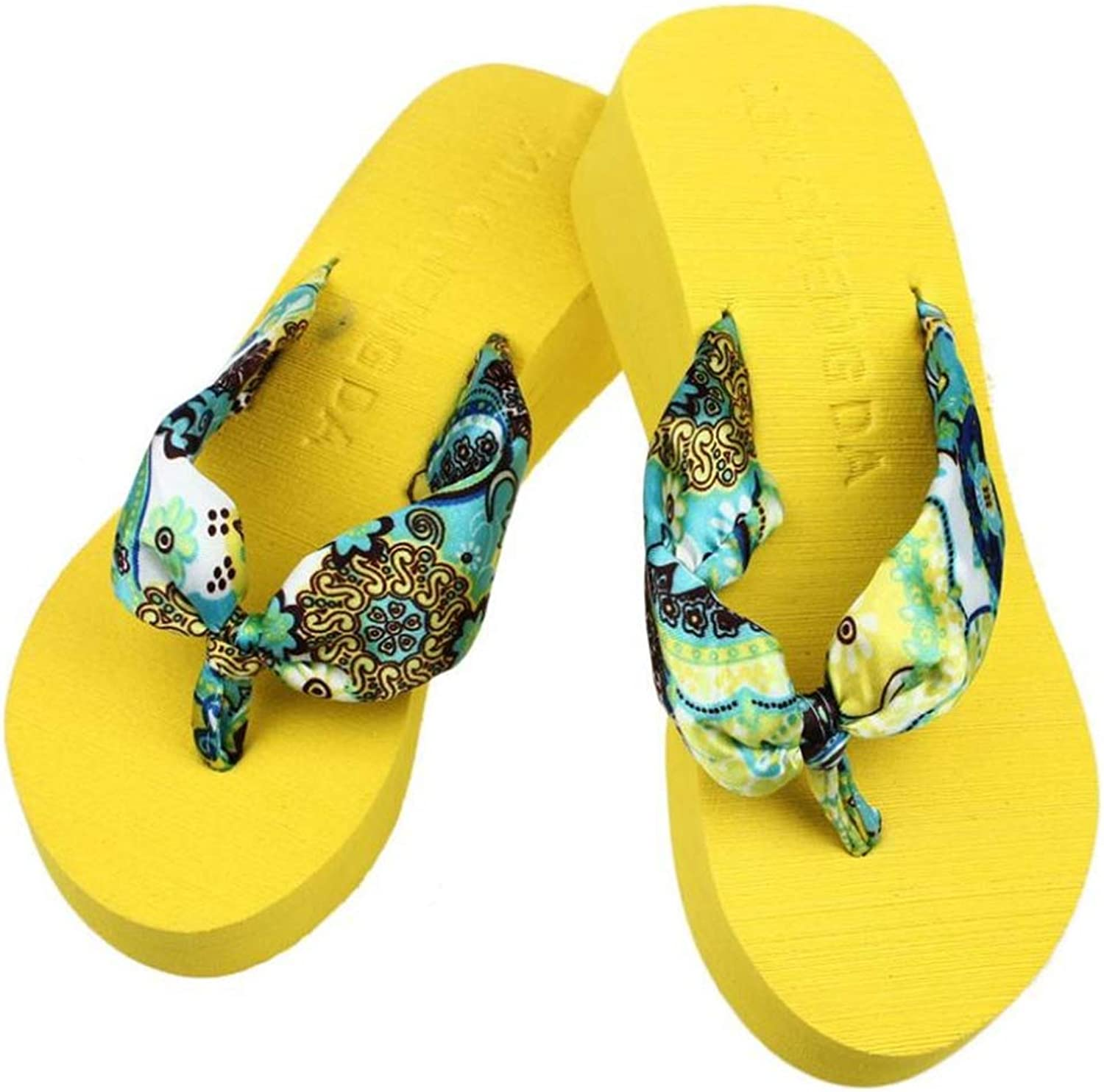 T-JULY Women's Sandals for Beach Wedge Platform Thong Flip Flops Casual Slippers