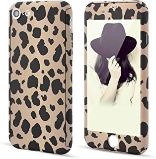 for iPhone 6 Plus iPhone 6S Plus Case,L-FADNUT 3in1 Stylish Leopard Cheetah Print Precise-Fit Premium PC Case and Tempered Glass Screen Protector Scratch Resistant Dual Layer Protective Case Khaki