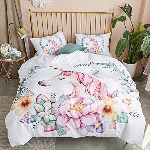 Rvvaceo Duvet Cover Quilt Bedding Set Bedding Set, Duvet Cover Set Super Soft, Easy Care Include 1 Quilt Cover+2 Pillowcases Microfiber Hypoallergenic-Single (135 X 200 Cm) Unicorn Flowers And Leaves