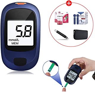 Fall Medidor de glucosa en Sangre, Diabetes Azúcar Blood Kit, medidor de glucosa de Uso doméstico con Las Tiras de Prueba x 50 y 50 x The Lancet, Incluye Dispositivo de punción sin Dolor