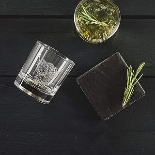 Just Slate JS/GTS/HC Highland Cow Engraved Glass Tumbler with Slate Coaster Gift Set, Black