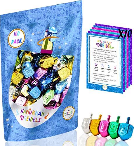 Hanukkah Dreidels Metallic Multi-Colored Draydels with English Translation - Includes Dreidel Game Instruction Card (100-Pack)
