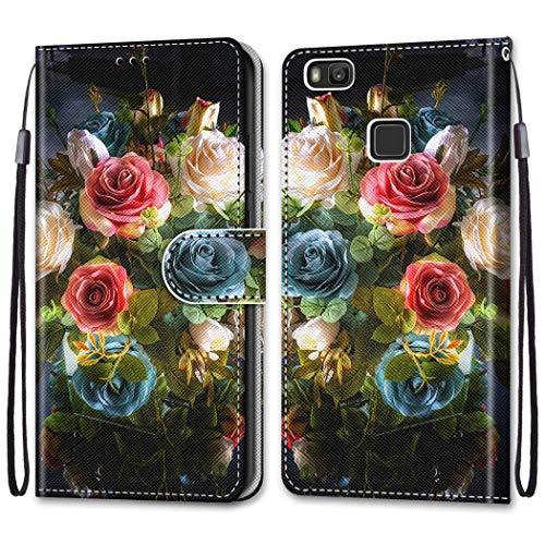 i-Hülle für Huawei P9 lite Hülle Hülle,P9 lite Handyhülle Brieftasche, PU Leder Tasche Ledertasche Cover Magnetverschluss Ständer Stoßfest Großer Blumenstrauß Muster für Huawei P9 lite