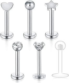 vcmart 16G Helix Earring-Internally Threaded Labret Monroe Medusa Lip Ring Tragus Cartilage Earring Stud 8mm Barbell Piercing Jewelry