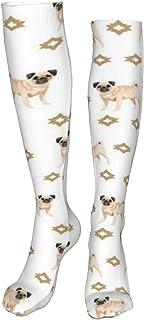 Osmykqe, Calcetines de acuarela para amantes de los perros, para niños, color blanco, para nieve, snowboard, esquí, camping, senderismo, para mujeres y hombres (60 cm)