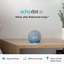Echo Dot (4th Gen, 2020 release) with clock | Next generation smart speaker with powerful bass, LED display and Alexa (Blue)