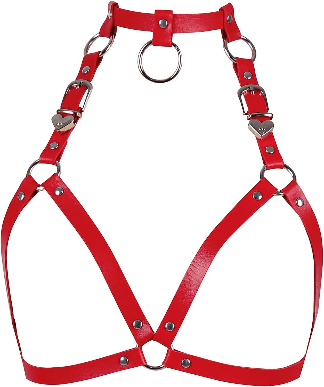 Women's Leather Tops Lingerie Full Cage Harness Body Punk Gothic Garter Belts Waist Belt Adjustable Size Festival Rave