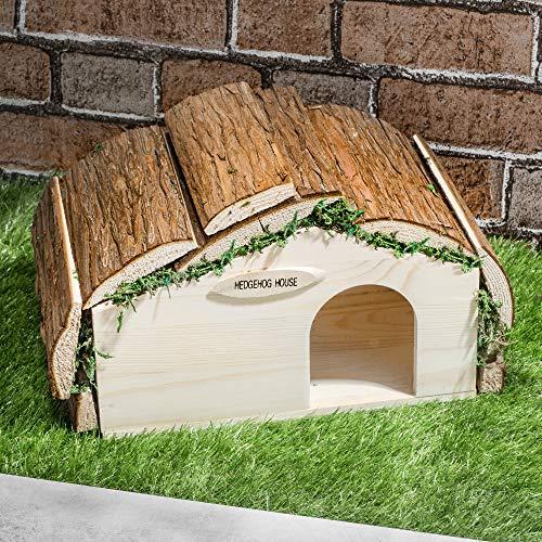 SA Products Igelhaus aus Holz – aus echtem Tannenholz – mit Schrauben und Handbuch – schönes kleines Haus für Garten und Haustier-Unterschlupf – stabile Konstruktion und wetterfest – 34 x 19 x 17 cm