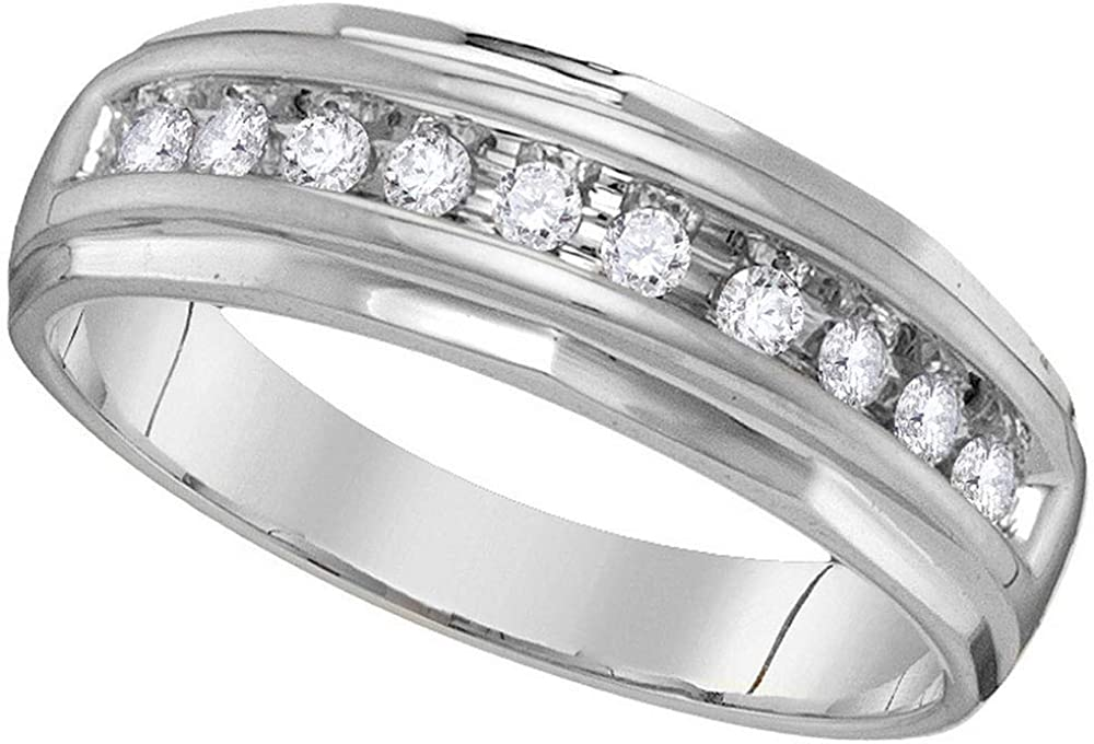 Dazzlingrock Collection 14kt White Gold Mens Round Diamond Single Row Grooved Wedding Band Ring 1/4 ctw