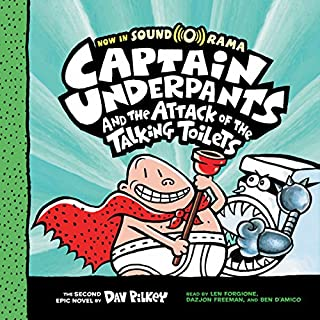 Captain Underpants and the Attack of the Talking Toilets     Captain Underpants, Book 2              Written by:                                                                                                                                 Dav Pilkey                               Narrated by:                                                                                                                                 Len Forgione,                                                                                        Dazjon Freeman,                                                                                        Ben D'Amico                      Length: 59 mins     1 rating     Overall 5.0