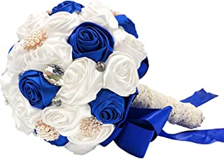 Abbie Home Handmade Bridal/Bridesmaids Brooch Bouquet Royal Blue Satin Roses with Crystal Diamond Pearl Decor-Royal Blue