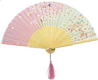 VI. yo gabba mujeres niñas Handheld plegable ventiladores ventiladores de seda de bambú Cherry Cute Openwork ventiladores para rendimiento danza, un tamaño