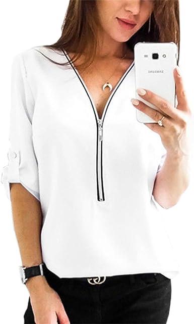 Camisa de Blusa para Mujer Media Manga Tops Camisa Elegante Camiseta con Cremallera Cuello en V con Cremallera