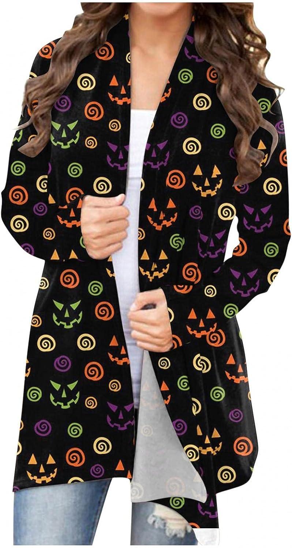 Halloween Sweaters for Women,Women's Halloween Pumpkin Cat Graphic Pullover Sweatshirt,Crewneck Long Sleeve Sweater Tops Casual Shirts