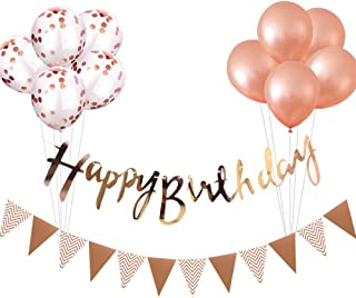 Magic House 誕生日 飾り付け セット ガーランド*2本 風船*10個 ローズゴールド きらきら 華やか おしゃれ バースデー デコレーション