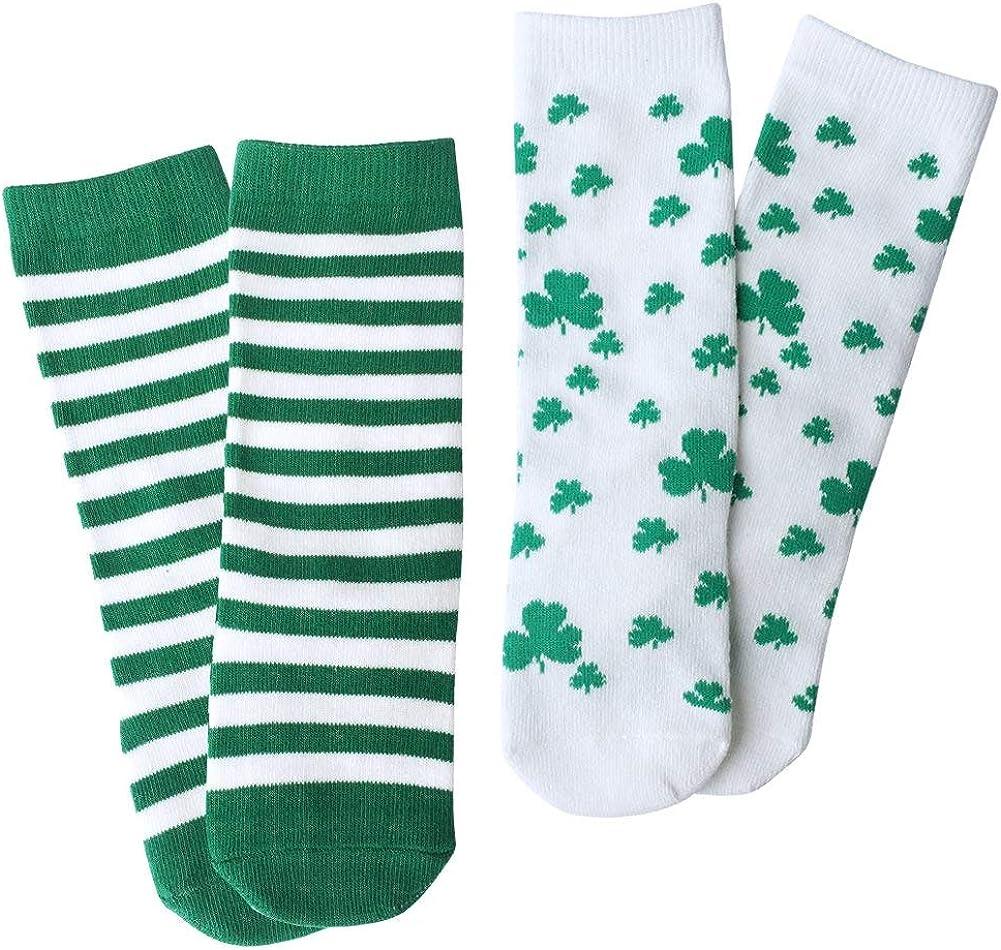 Baby Socks Toddler Knee High Hosiery Shamrock/Clover Green and White Striped Set 2 Packs