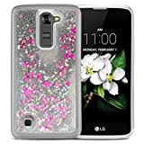 LG K7 / LG Tribute 5 / LG Phoenix 2 / LG Treasure Phone Case - Transparent Floating Liquid Glitter HARD TPU Waterfall Cover (SILVER)