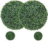 uyoyous - 4 palline di bosso artificiali, 2 pezzi da 48 cm e 2 pezzi da 23 cm, colore verde