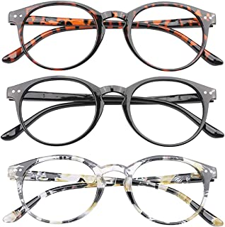 Reading Glasses 3 Pairs Stylish Round Readers for Men Women with Spring Hinge Clear Lens, 1.00 Strength