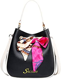 Women PU Leather Top Handle Satchel Shoulder Bags With Silk Scarf Waterproof Anti-Scratch Ladies Fashion Bags