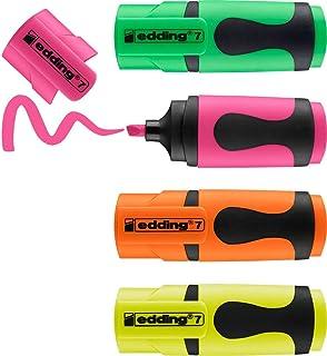 edding 7 Mini-surligneur - couleurs néon - étui de 4 surligneurs - pointe biseautée 1-3mm - petits surligneurs aux couleu...
