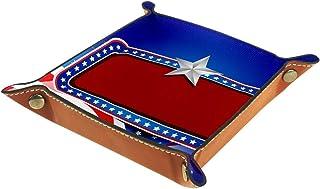 ATOMO Plateau de rangement en cuir avec motif drapeau américain et étoiles - Pour ranger des bijoux, des articles divers, ...