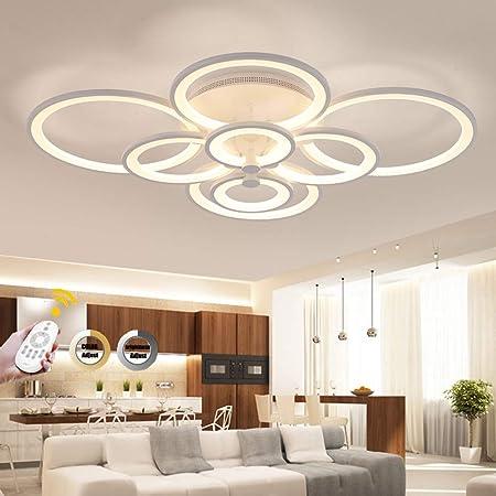 pour Chambre Lichtsse Plafonnier LED Dimmable 56W 4480LM Salon Lampe Lustre de Suspension Design Moderne /à 4 Anneaux avec T/él/écommande Blanc en Acrylique Lampe de Plafond Salle /à Manger