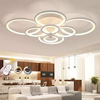 Plafonnier LED, ONLT 108W Dimmable LED Moderne Plafonnier 8 têtes Anneaux Luminaire pour Salon,LED Acrylique Lampe de plaf...