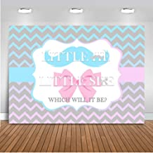 Mocsicka Gender Reveal Chevrons Backdrop 7x5ft Boy or Girl Blue and Pink Gender Surprise Background Beard or Bow Tie Baby Shower Photography Studio Backdrops