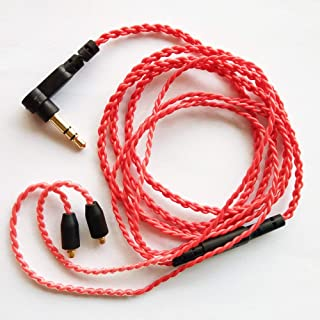XiYu MMCX Kabel für Kopfhörer, 1,2 m, für Shure SE215 SE315 SE535 SE425 SE846 Kopfhörer rot