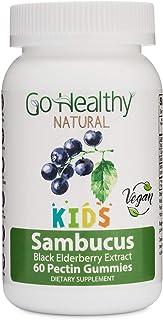 Go Healthy Natural Vegan Sambucus Elderberry Gummies for Kids Immune Support, OU Kosher, Halal - 30 Servings