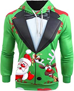 Bravetoshop Men Ugly Christmas 3D Printing Hooded Suit Jacket Long Sleeve Slim Fit Xmas Sweater Blazer Holiday Suit Coat