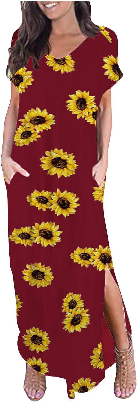 Summer Women's Round Neck Short Sleeve Print Daily Casual Vintage Bohemian Maxi Dress Loose Pockets Split Boho Dresses