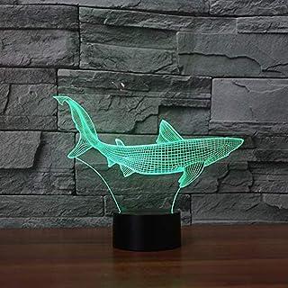 Lámpara de mesa táctil de tiburón de dibujos animados 7 colores lámpara de mesa de cambio lámpara 3d novedad luz nocturna led lámpara de estrella de la muerte lámpara led