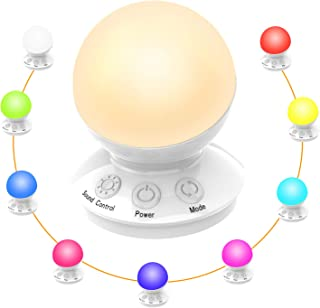 Luz de noche LED para niños, lámpara de mesita de noche de 7 colores, iluminación degradada de 256C RGB, mini color de luz portátil blanco, recargable por USB